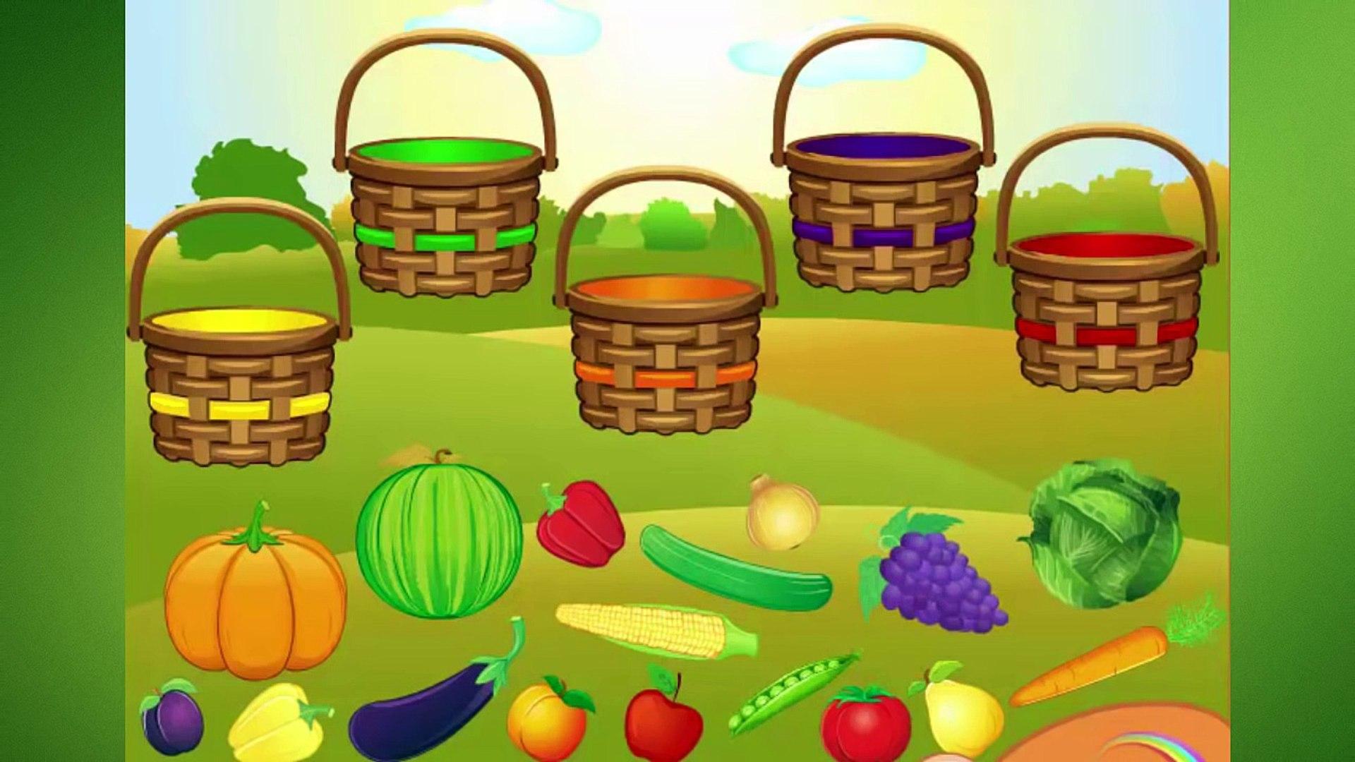 Овощи и фрукты. Учим цвета собирая урожай.Обучающий мультфильм
