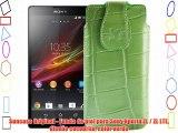 Suncase Original - Funda de piel para Sony Xperia ZL / ZL LTE diseño cocodrilo color verde