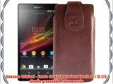 Suncase Original - Funda de piel para Sony Xperia ZL / ZL LTE diseño granulado color marrón