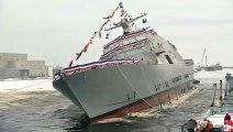 Regardez la mise à l'eau spectaculaire du nouveau bateau de l'US Navy