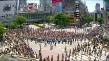 video of Shibuya scramble intersection after the World Cup against Japan end 2014