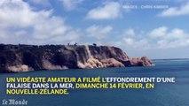 Une falaise s'effondre dans la mer en Nouvelle-Zélande