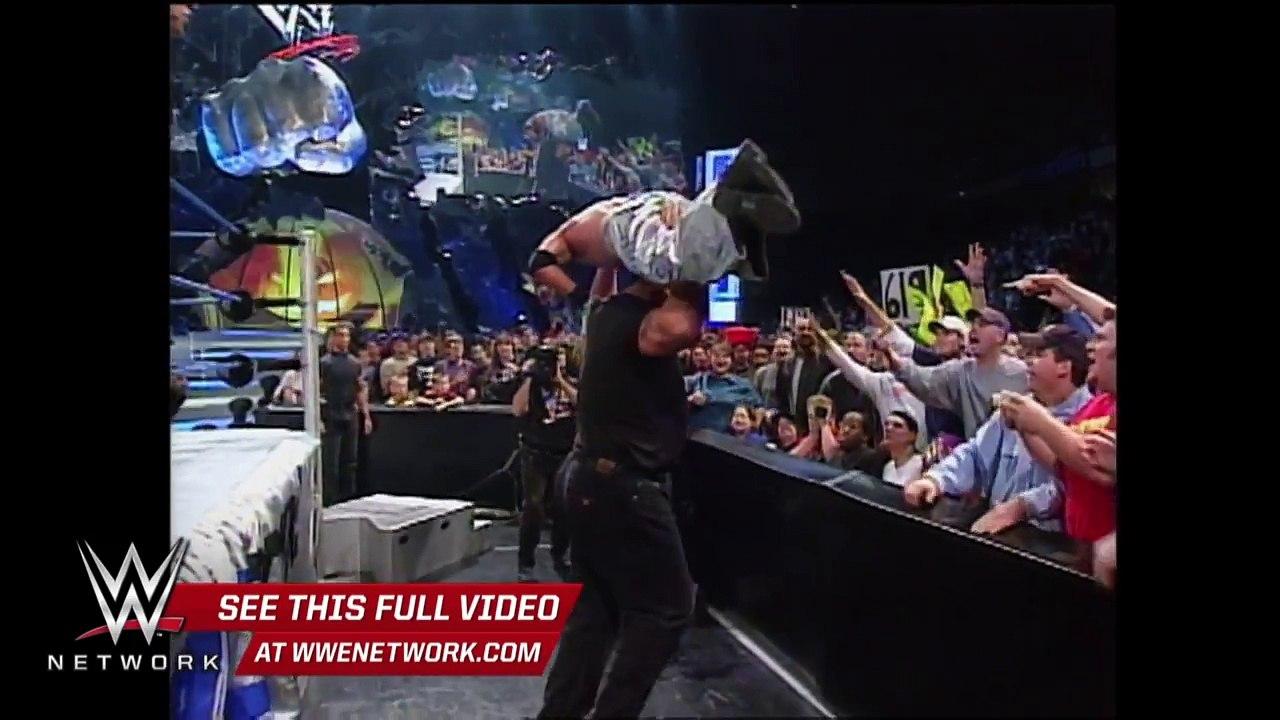 WWE Network- Big Show chokeslams Brock Lesnar through the ...