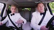 Justin Bieber mosturizes James Corden on way to 2016 Grammys _ Daily Mail Online