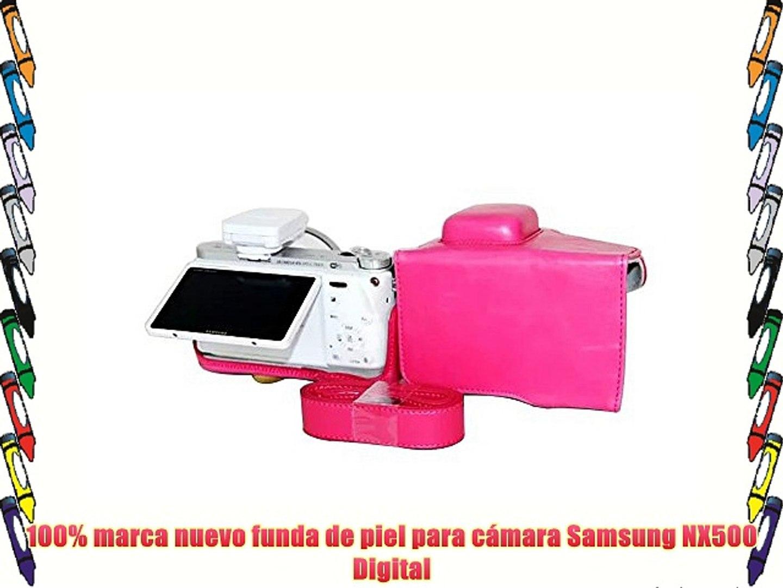 PDXD-share Fundas para Cámaras PU-cuero Bolsa Caso para la cámara Samsung NX500 Digital (Rosado)