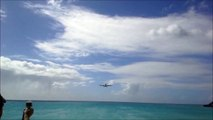The View of an Airbus A-340 from Maho Beach