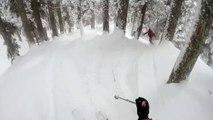Des skieurs hors-piste surpris par un léopard des neiges