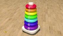 Apprendre les couleurs et chiffres en français. Jouets pour bébé : pyramide. Learn Fren
