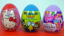 3 Surprise Eggs Hello Kitty Super Mario My Little Pony Toy Unboxing Sorpresa Huevos Toy Review