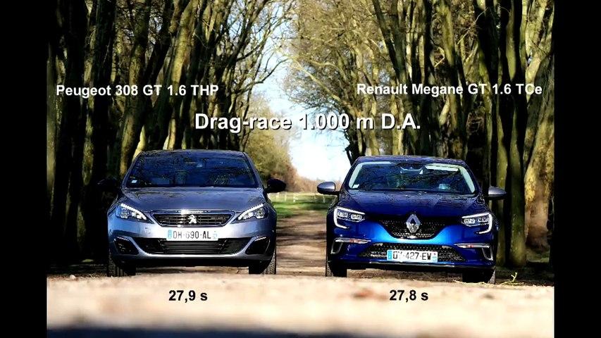 Drag-race : Peugeot 308 GT vs. Renault Mégane GT
