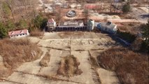 Aerial Drone view of closed old amusement park near Cleveland Ohio - Geauga Lake