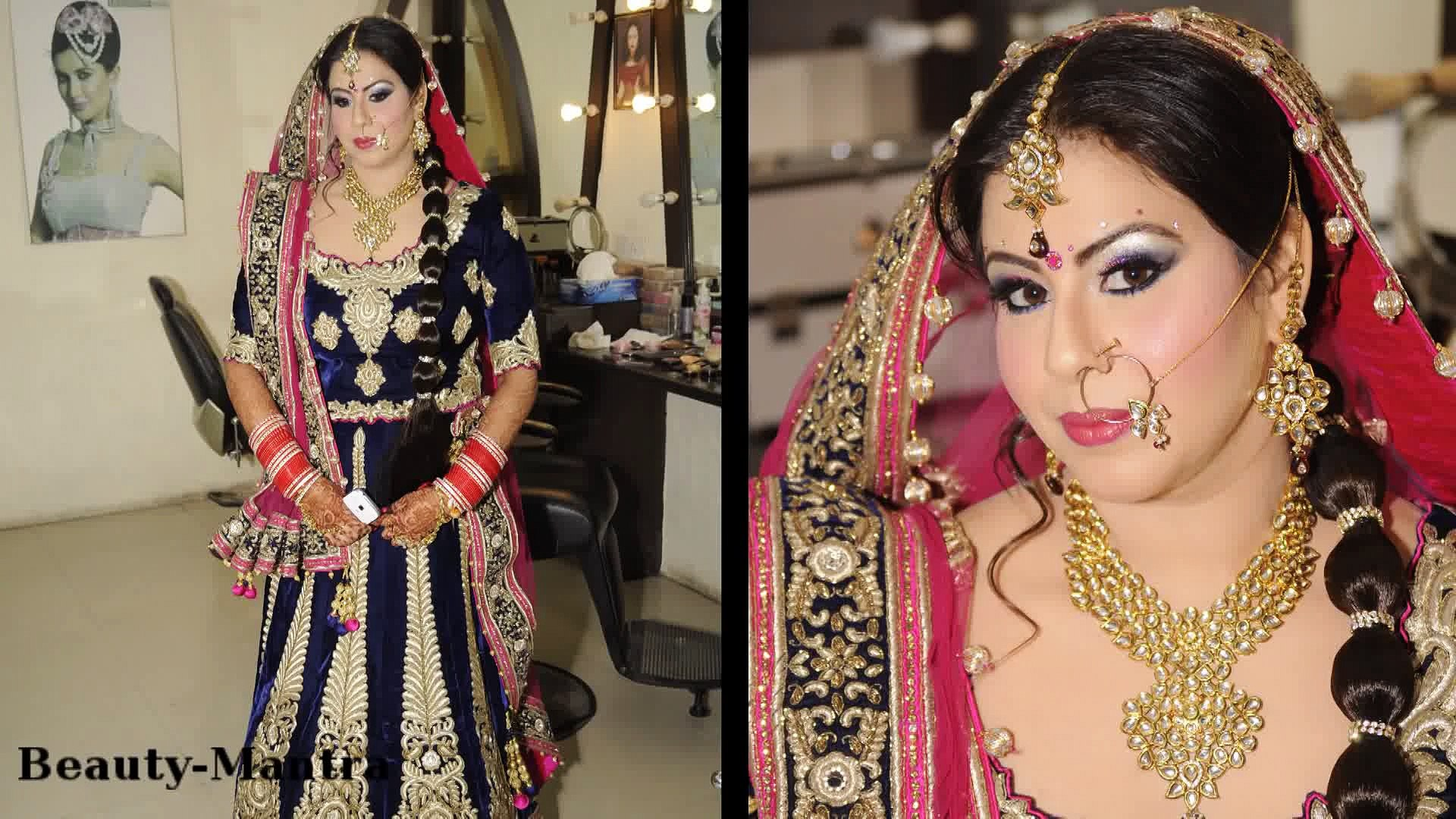 bridal makeup and hairstyle - blue and pink eye makeup -latest best pakistani bridal makeup tips & ideas