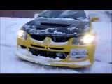 Subaru STi vs Mitsubishi EVO Off-road Drifting in Snow