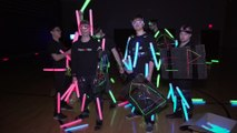 Playing Dogeball with Glow Sticks seems to be so Fun!