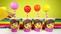 Dora Surprise Eggs and Kinder Surprise Eggs inside Dora Cup and Learn Colors
