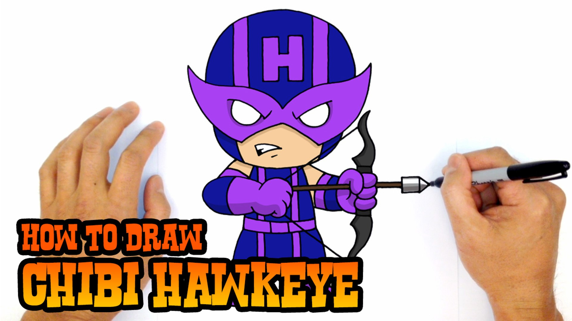 How To Draw Chibi Hawkeye Avengers Step By Step Lesson Video Dailymotion