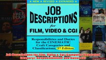 Download PDF  Job Descriptions for Film Video  Cgi Computer Generated Imagery Responsibilities and FULL FREE