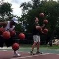 Incredible Tricks with Basketballs | 2 Guys 10 Basketballs