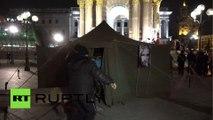 Ukraine : des manifestants d'extrême droite dressent des tentes sur l'emblématique Place Maïdan