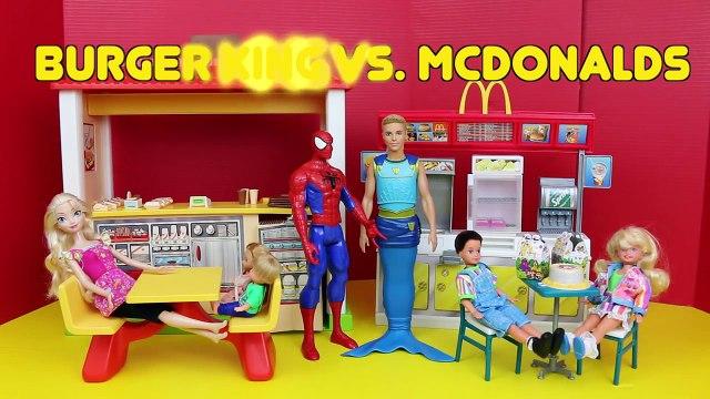 DisneyCarToys Barbie McDonalds vs Barbie Burger King Toys with Frozen Elsa Spiderman Mike The Merman