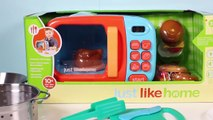 Just Like Home Microwave Oven Toy Kitchen Set Cooking Playset Toy Food Toy Cutting Food