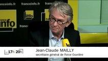 """Jean-Claude MAILLY (FO) : """"Le projet de loi sur le travail vaut une grève dans le public et le privé"""""""