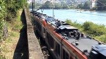 Züge und Schiffe bei Assmannshausen, 101, 2x 152, SBB Cargo Re482, MRCE 185, 2x DB 185, 5x 428
