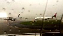 Bolt of lightning strikes Delta Airlines plane during thunderstorms at Atlanta airport