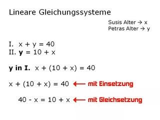 F05-2 Lineare Gleichungssysteme - Einsetzung und Gleichsetzung