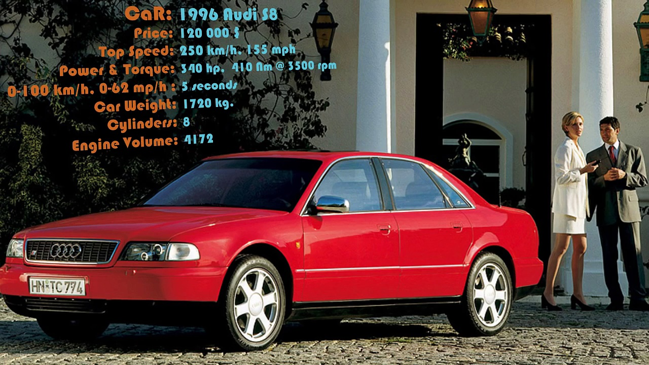 1996 Audi S8 – 2005 Audi S8 – 2012 Audi S8 – 2014 Audi S8 – 2015 Audi S8 MTM Tallageda S – Review