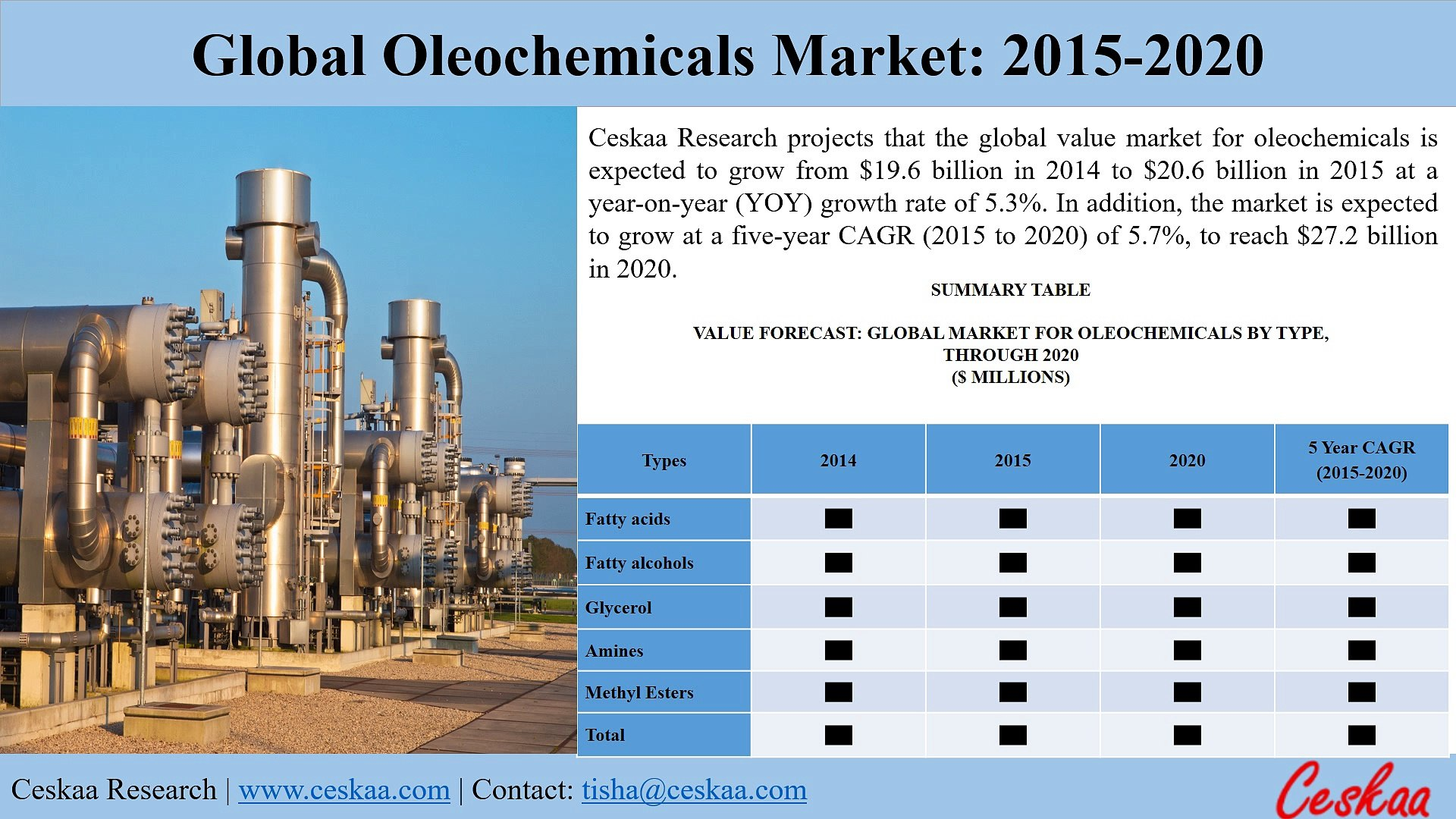 Global Oleochemicals Market to reach at $27.2 billion by 2020, says a New Research Report at Ceskaa