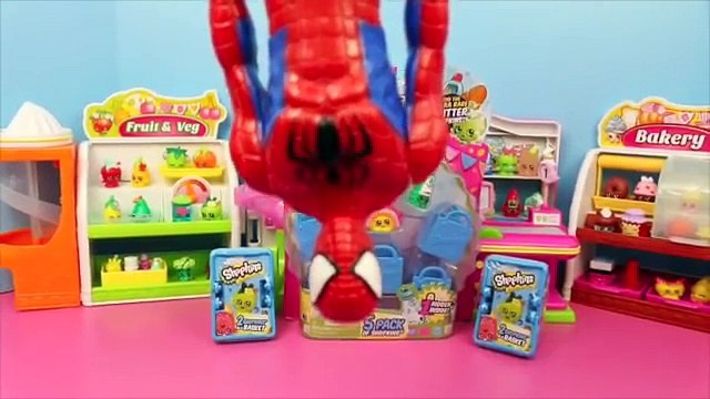 Shopkins Blind Bags Surprise Shopping Baskets with Spiderman! Shopkins Toys Review DisneyCarToys