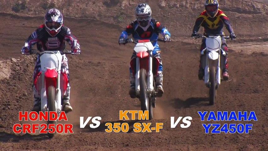Honda CRF250R vs  KTM 350 SX-F vs  Yamaha YZ450F