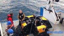 Nouveau sismomètre marin révolutionnaire testé en rade de villefranche par Yann Hello, ingénieur de recherche IRD à Géoazur