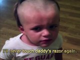 Little Kid Gives Himself A First Haircut All By Himself With Daddy's Electric Razor.