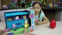 NEW PEPPA PIG SCHOOL BUS PLAYSET SURPRISE EGG Peppa Pigs School Kids Toys Unboxing Toy Opening Fu