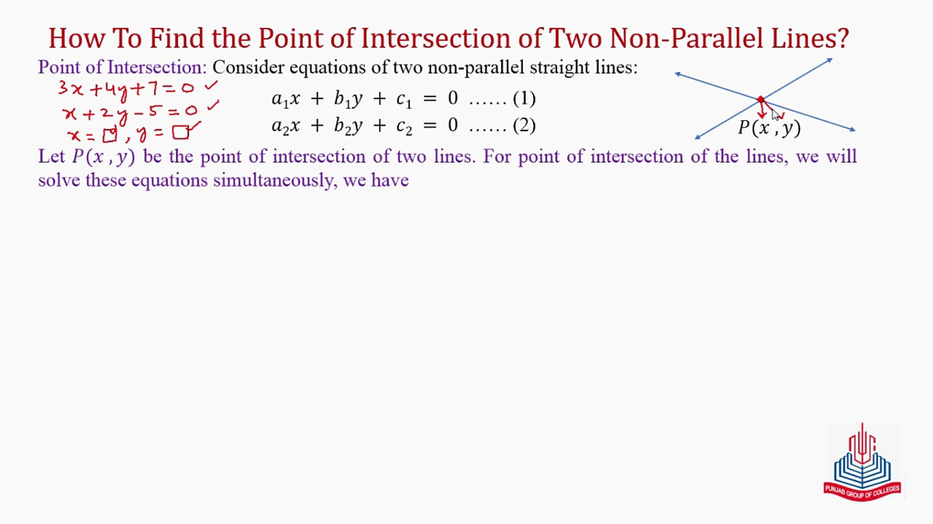 How to find the point of intersection of two Non-Parallel Lines ? - video  dailymotion