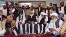 مولانا فصل الرحمن اپریس کانفرنس سے خطاب کررہے ہیں جس میں جمعیت علما اسلام نطریاتی کا جمعیت علما اسلام میں انضمام کا مولانا عصمت اللہ کی جانب سے باقاعدہ اعلان کیا گیا اور مولانا فضل الرحمن اس انضمام کی تاید کررہے ہیں