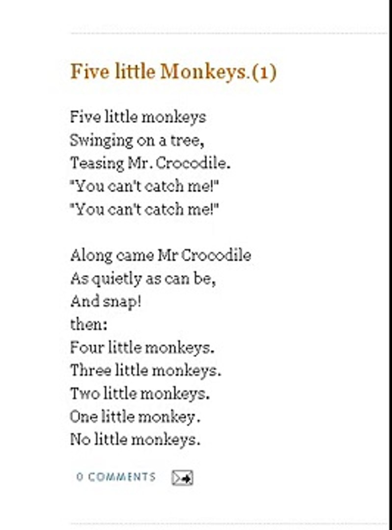 Five Little Monkeys Nursery Rhymes Songs With Lyrics And Action Poems For Kids Lyrics