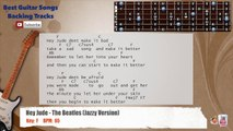 Hey Jude - The Beatles (Jazzy Version) Guitar Backing Track with scale, chords and lyrics