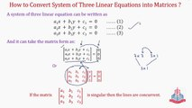 How to convert system of three linear equations into Matrices ? Question No.16  &  Question No.17