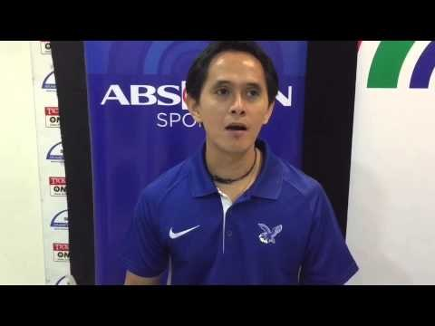 Lady Eagles' Tai Bundit gives advices to Blue Eagles' coach Oliver Almadro