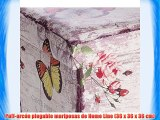 Puff-arcón plegable mariposas de Home Line (36 x 36 x 36 cm)