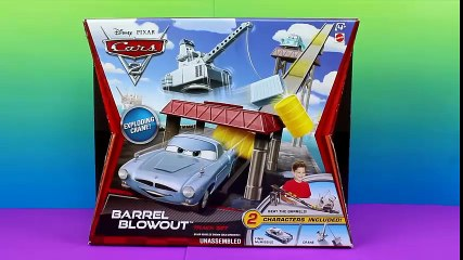 Disney Pixar Cars 2 Barrel Blowout Track Set Finn Mcmissile and Professor Z Escape Oil Rig