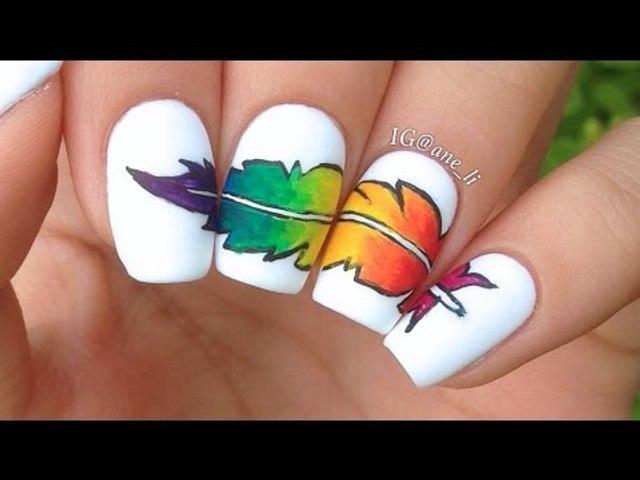 Rainbow Feather Nail Art