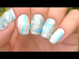 Nail Art Tutorial: Blue & Gold Water Marble