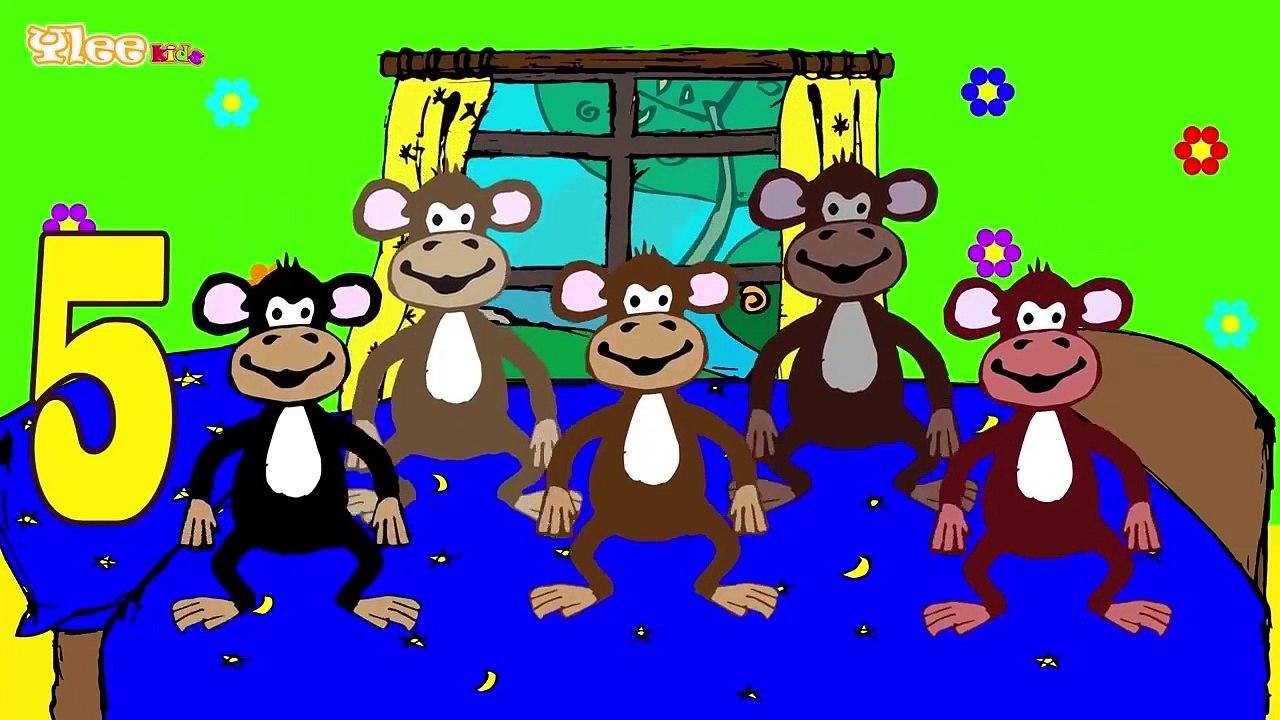 Cinque Scimmiette Saltavano Sul Letto.Cinque Scimmiette Five Little Monkeys Canzone Per Bambini Yleekids Dailymotion Video