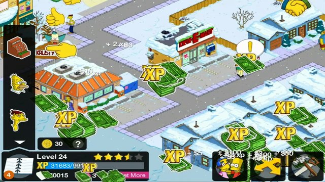 The Simpsons Tapped Out HD Level 24 Achievement Christmas Season Snowmobiling with Ned Flanders