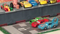 Disney Pixar Cars Re enactment scene with Lightning McQueen ,Rusty, Dusty, Fred and Donna Pits