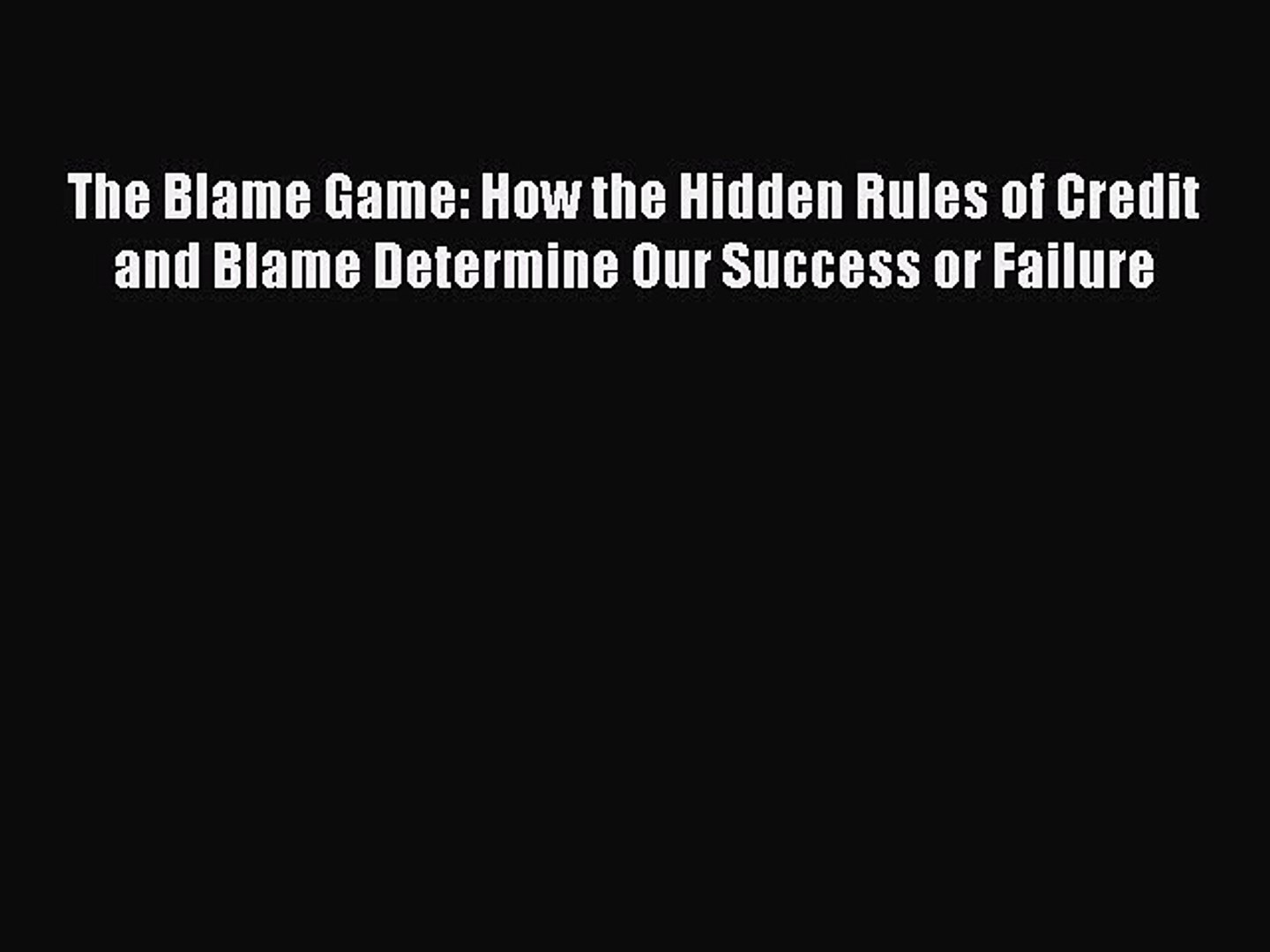 About Credit and Blame at Work
